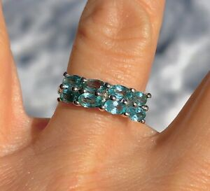 Certified 2.01Ct Madagascan Blue Apatite Sterling Silver Band Ring Sz. 7