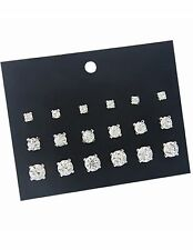 Multi pack stud  earrings 9 pairs rhinestone studs Diamond crystal stud earrings