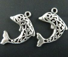80pcs Tibetan Silver Hollow Dolphin Charms 18.5x20.5mm 8496
