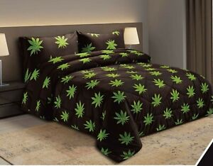 10 PCS  POT MARIJUANA LEAF WEED Comforter, Sheet and Curtain SET