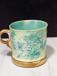 Antique Majolica Mug Pastel Florals Leaves