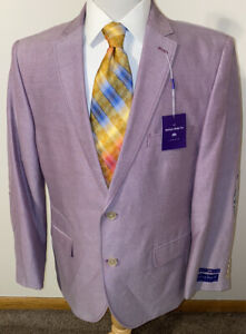 NEW Savile Row Rivington Sport Coat Blazer Jacket Purple Elbow Patch Sz 42R Slim