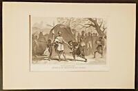 Gravures de 1880. Entrevue de Bruce et du... De Pardinel, estampe, lithographie.