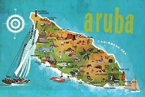 Map of Aruba, Dutch Isle in Netherlands Antilles, Caribbean Sea, Boat - Postcard