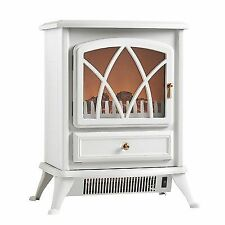 VonHaus 1850w Portable Electric Stove Heater Log Burning Effect Fireplace White