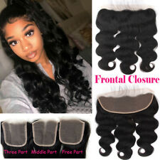Ear To Ear Frontal Lace Closure Peruvian 8A Virgin Human Hair Extensions Weave U