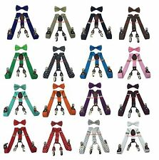 Boys Girls Kids Child Children 4 Clips Elastic Suspenders & Bow Tie Combo