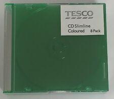 8 x CD DVD Slimline 5.2 mm Cas, pour 1 disque avec Couleur Vert Plateau, Pack de 8