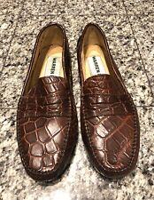 Warren Edwards Brown Alligator Men's Driving Moccasins Shoes