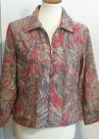 Ruby Rd. Women's Medium full zip shirt fall jacket semi-sheer brown red pattern