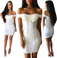 Abito Fascia Nudo scollo Stringhe Aderente Lacci Ballo Party Lace Up Dress M