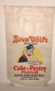 Vintage SNOW WHITE Cake & Pastry flour paper bag 15 x 8.5 in NOS