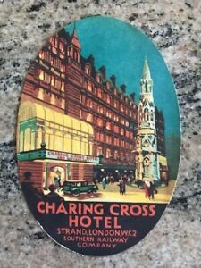 Vintage Charing Cross Hotel London Luggage Label