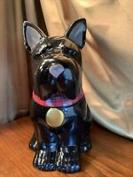 Black Scottie Dog Cookie Jar Scottish Terrier Ceramic MSRF INC Plaid Bib NEW