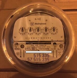 WESTINGHOUSE WATTHOUR METER KWH, D4S, 5 POINTER STYLE, 4 LUGS, 240V, 200A, FM 2S