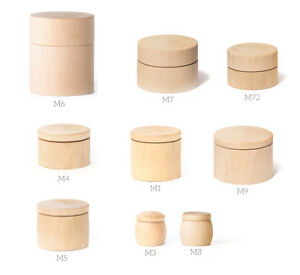 Round Wooden Pill Box Ring Decorative Natural Unfinished Craft Jewelry