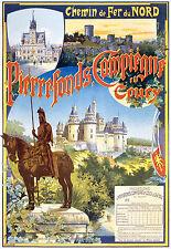 Affiche chemin de fer Nord - Pierrefonds Compiègne Coury