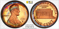 1991-S Lincoln Memorial Cent Penny 1c PCGS PR66 RB  AWESOME RARE RAINBOW TONING