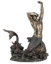 "11.5"" Merman Stretching on Rock Statue Male Mermaid Fantasy Nautical Sculpture"