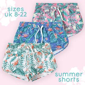 Ladies Holiday Summer Hot Pants Floral Print Shorts with Pockets Board Beach NEW