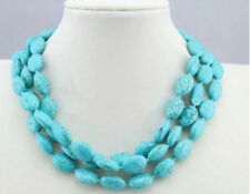 13x18mm Blue Turkey Turquoise Oval Gemstone Necklace 36 Inch JN968