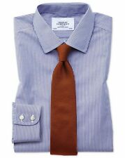 """Charles Tyrwhitt Extra Slim Non-iron Bengal Stripe Shirt 15"""" Navy"""