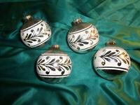 ~ 4 alte große Christbaumkugeln Glas silber weiß Weihnachtsbaumkugeln DBGM CBS ~
