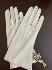 Vintage Dents Ivory Leather Women's Gloves W Original Tag Small Size