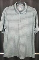 Greg Norman For Tasso Elba Play Dry Golf Polo Stripped Gray Men's Shirt Sz M