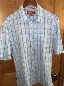 NEW SIMMS Men's Aqua Plaid Stone Cold Short Sleeve Shirt Button Up Fish - Medium