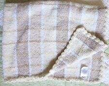 Koala Baby Tan Cream Brown Polyester Knit Plaid Baby Girl or Boy Blanket Euc
