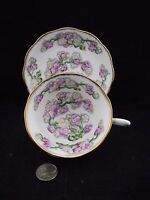 ROYAL ALBERT CROWN MAY BLOSSOM   CABINET TEA CUP AND SAUCER BRUSHED GOLD