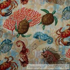 BonEful FABRIC FQ Cotton Quilt Tan Red Crab Lobster Sea Turtle Horse Fish Ocean