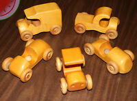5 Piece Lot Vintage Crafted WOODEN Handmade CARS Coupe Truck Toys handcrafted