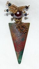 w/ Spring Hair & Red Glass Head Whimsical Enameled Copper Lady Pin Triangle Body