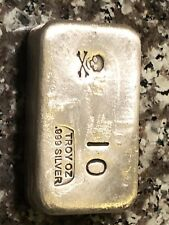 10 Oz Hand Poured Silver pirate bar pg&g Ten Troy .999 skull & cross bones Apmex