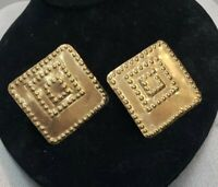 Square Brass Plate Stamped Geometric Pattern Clip On Earrings