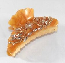 Brand New Amber Brown Flower Swirl Hair Clip Claw w/Brown Austrian Crystals