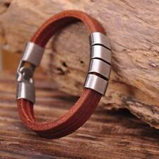 G117 Brown Cool Metal Clasp Surfer Leather Mens Wristband Bracelet Cuff New