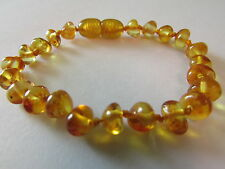 GENUINE AMBER CHILD - ADULT BRACELET / ANKLET BEADS KNOTTED SIZES 14-19 CM