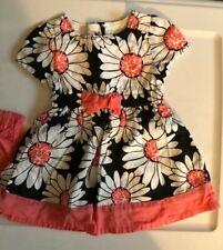 Gymboree dress w/ shorts, black/white/peach floral, sz 6-12 mo