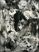 Modernist ABSTRACT PAINTING Expressionist MODERN ART B & W FLIGHTS NIGHT FOLTZ