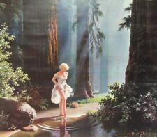 """Paul Detlefsen Print 12""""x14"""" Wilderness Paradise pinup Calendar Girl lithograph"""