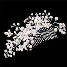 Pearl Hair Comb Silver Alloy Rhinestone Leaf Disc Hair Decoration for Wedding