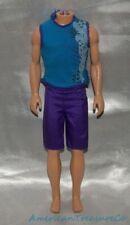 Barbie Ken 2-Pc Aqua Blue Knit Tank Top Shirt & Purple Board Shorts Trunks Set