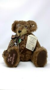 "Hermann Mohair Oktoberfest Bear w Tags & Glasses 13"" Octoberfest Plush Germany"