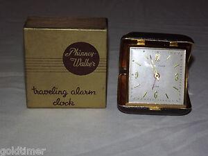 VINTAGE  CO PHINNEY WALKER TRAVELING ALARM CLOCK IN BOX