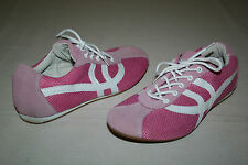 FREE SHIPPING Bijou Womens Sz 8 Medium Pink & White Leather Lace-Up Casual Shoes