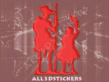 Pegatina Don Quijote y Sancho Panza 3D Relieve - Color Rojo