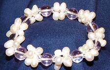 Bracelet en perles et billes de verre facon Murano rose